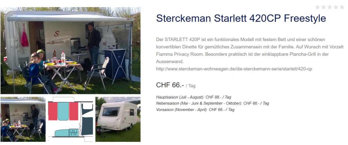 Wohnwagen Sterckemann Starlett zu vermieten